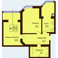 Двокімнатна квартира загальною площею 77,3 м2