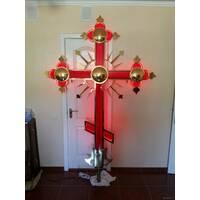 Хрест накупольний червоний з підсвічуванням, купити