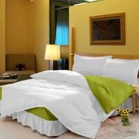 Комплект постельного белья с цельной простынью - подзором Белый + Салатовый