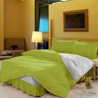 Комплект постельного белья с цельной простынью - подзором Салатовый + Белый