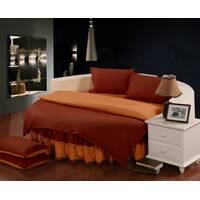 Комплект постільної білизни з цільним простирадлом-підзором на Кругле ліжко Винний + Медовий