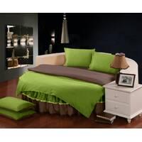 Комплект постельного белья с цельной простынью - подзором на Круглую кровать Салатовый + Порох