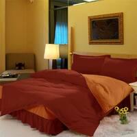 Комплект постельного белья с цельной простынью - подзором Винный + Медовый