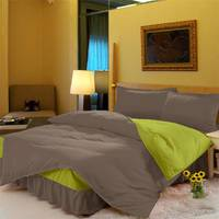 Комплект постельного белья с цельной простынью - подзором Порох + Салатовый