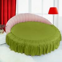 Простирадл цілісна - підзор на Кругле ліжко Салатовий Модель 1 з рюшів