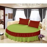 Простынь цельная - подзор на Круглую кровать Модель 6 Салатовый + Винный