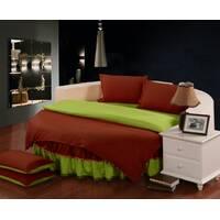 Комплект постільної білизни з цільним простирадлом-підзором на Кругле ліжко Винний + Салатовий