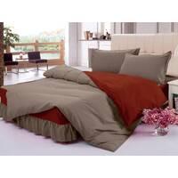 Комплект постельного с цельной простынью - подзором Порох + Винный