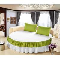 Простынь цельная - подзор на Круглую кровать Модель 6 Белый + Салатовый