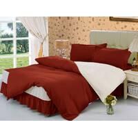 Комплект постельного белья с цельной простынью - подзором Винный + Белый