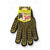 Перчатки с ПВХ точкой, 7 класс вязки, черные