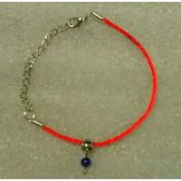 Червона нитка-браслет з натуральним природним сапфіром 6 мм