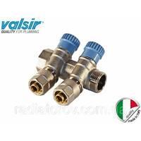 Коллектор Valsir на два вывода с вентилями 3/4х2х16 (Италия) обратка