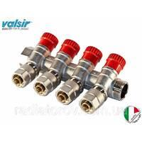 Коллектор Valsir на 4 вывода с вентилями 3/4х4х16 (Италия) подача