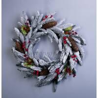 Колекція А-12: вінок з пластикових гілок, скручений нитками, засніжений декор