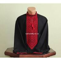 мужская черная  вышиванка с красной вышивкой . ручная работа.