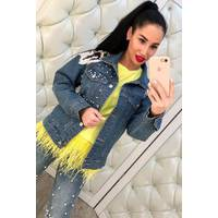 Джинсовый пиджак с жемчугом и цветами 281 (ГН)