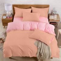Подростковое двустороннее постельное белье Коралл + Розовый