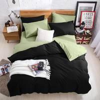 Подростковое двустороннее постельное белье Черный + Олива