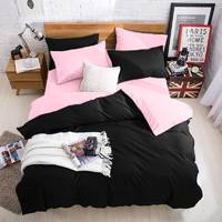 Подростковое двустороннее постельное белье Черный + Розовый