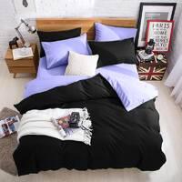 Подростковое двустороннее постельное белье Черный + Сирень