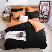 Подростковое двустороннее постельное белье Черный + Медовый