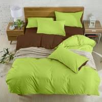 Подростковое двустороннее постельное белье Коричневый + Салатовый