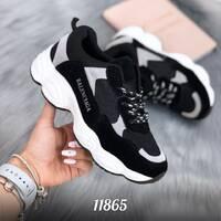 Стильные черные кроссовки 11865 (ЯМ)