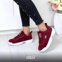 Стильные бордовые кроссовки 11857 (ЯМ)