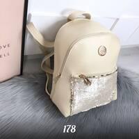 Бежевый рюкзак с пайетками 178 (ЯМ)