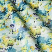 Декоративна тканина для штор подушок чохлів з дрібними розмитими квітами бежево жовтого і блакитного кольору Іспанія 400300v2