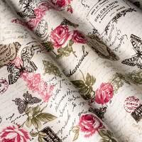 Декоративна тканина для штор покривал і подушок з великими і дрібними трояндочками з метеликами болотно-зеленого кольору тефлон 12105v12
