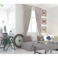 Декоративна тканина для покривал і подушок геометричні візерунки коричневі на бежевому тлі бавовна