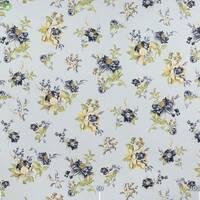 Тканина Декоративна тканина для штор з дрібними жовто-бежевими і волошковими квітками на трав'яних стеблах Туреччина 130439v4