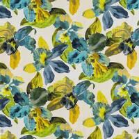 Декоративна тканина для штор з великими бежево-блакитними кольорами нанесеними великими мазками художника Іспанія 400299v 2
