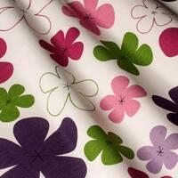 Декоративна тканина для штор подушок чохлів дитячі різнокольорові квіти зеленого рожевого бузкового і фіолетового кольору з тефлоном 070781v18