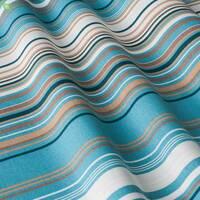 Декоративна тканина для штор покривал і подушок в тонку коричневу і білу смугу на блакитному з тефлоном 051670v4