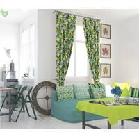 Декоративна тканина для штор з розмитими жовто-блакитними квадратами Іспанія 400301v2