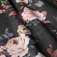 Декоративна тканина для штор з дрібними бутонами блякло-бордових троянд на чорному Іспанія 400342v 1