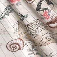 Декоративная ткань с морской тематикой с черным корабликом и дельфинами Турция 160702v2