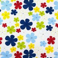 Декоративна тканина для штор дитячі різнокольорові квіти зеленого жовтого червоного і синього кольору Туреччина 070781v29