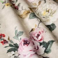 Декоративна тканина для штор подушок чохлів з дрібними бутонами рожево-бордових і молочних троянд Іспанія 400342v 2
