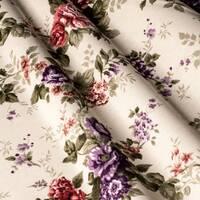 Декоративна тканина для штор подушок чохлів гілочки бордових і фіолетових троянд Туреччина 160626v6