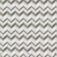 Декоративна тканина для покривал і подушок невеликий зигзаг коричневий з білим на льоні 280 см 400328v1