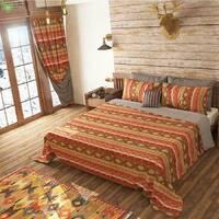 Декоративна тканина для покривал і подушок з візерунком бежевого коричневого і червоного кольору з тефлоном 071294v3