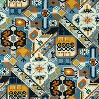 Декоративна тканина для штор ромбовидна плитка з візерунками коричневого і блакитного кольору Іспанія 400303v1
