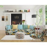 Декоративна тканина для штор покривал чохлів в дрібні помаранчеві і блакитні ромби на білому Іспанія 400304v1