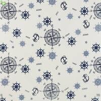 Декоративная ткань для штор покрывал и подушек с надписями и голубыми штурвалами Турция 4234v8