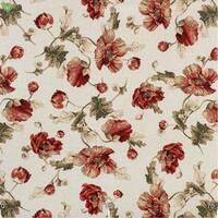 Декоративная ткань для штор покрывал и подушек с мелкими бордово-красными маками льняной фоне Испания 400085v1