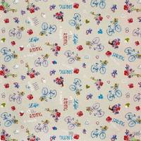 Декоративная ткань для штор подушек покрывал с сердечками голубыми велосипедами и цветами Италия 400291v1